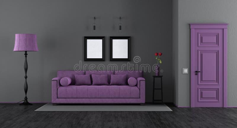 Elegantes schwarzes und purpurrotes Wohnzimmer vektor abbildung