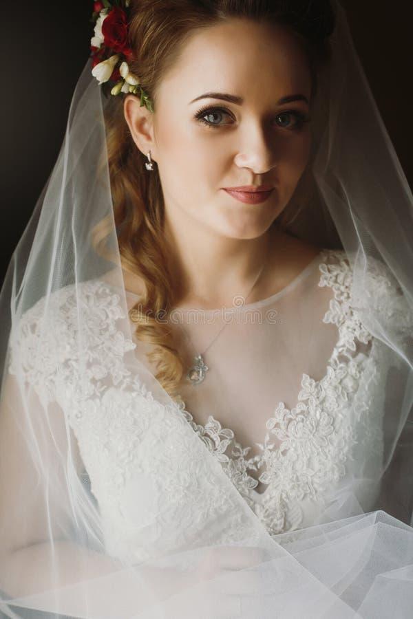 Elegantes weiches Licht des Porträts der herrlichen Braut morgens sensu lizenzfreie stockbilder