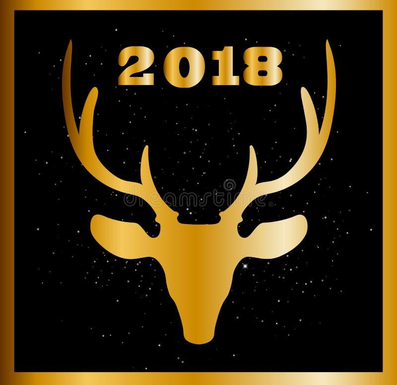 Elegantes Weihnachts- oder des neuen Jahreskarte mit goldenem raindeer Kopf und vektor abbildung