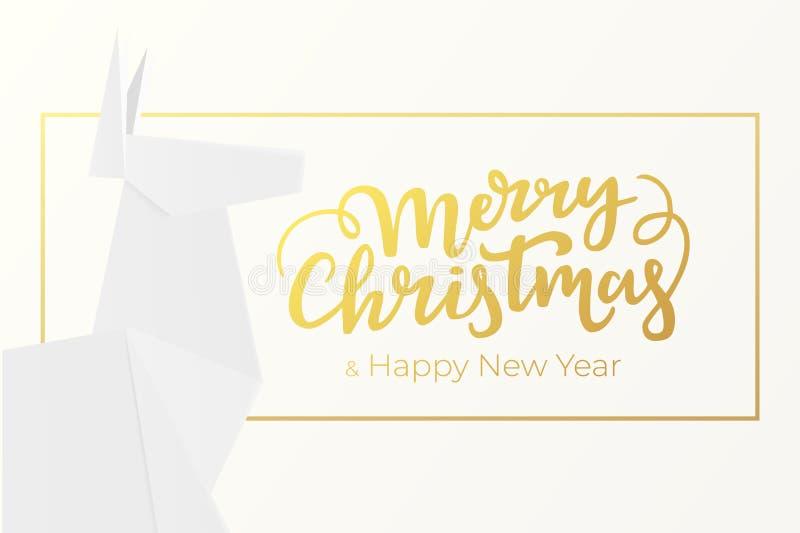 Elegantes Weihnachts- und des neuen Jahresgrußkartenentwurf mit Beschriftung und Rahmen der goldenen Folie und heller Hintergrund vektor abbildung