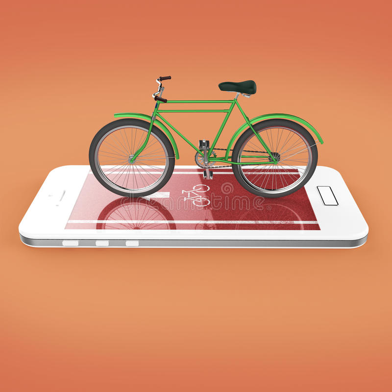 Elegantes Weinlesefahrrad auf mit Berührungseingabe Bildschirm von Smartphone mit Straße, digitale Eignung trägt Fahrradmietapp-M lizenzfreie abbildung