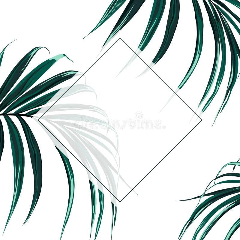 Eleganti floreali invitano la progettazione della struttura dell'oro della carta: foglie di palma scure esotiche tropicali illustrazione vettoriale