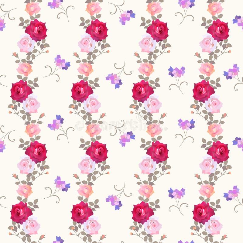 Elegantie bloemen naadloos patroon met diverse rozen en lilac klokbloemen vector illustratie