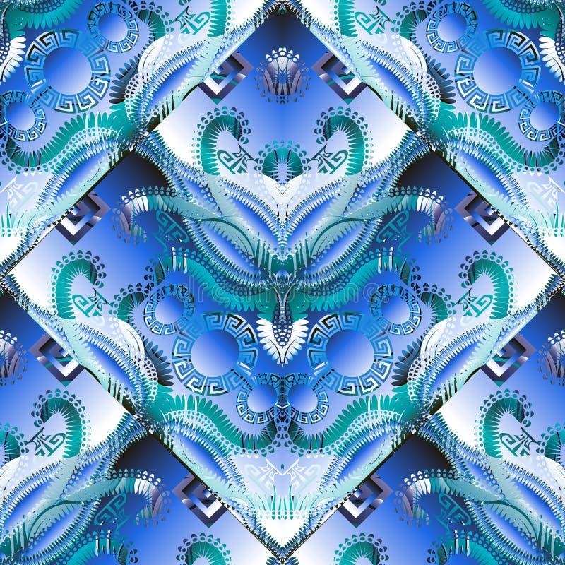Elegantie het abstracte Grieks in blauw kleuren naadloos patroon Moderne geometrische overladen 3d vectorachtergrond Herhaal bloe stock illustratie