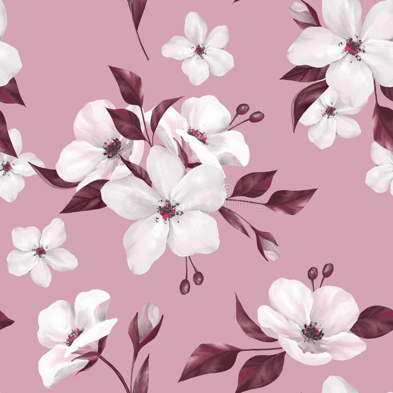 Elegantie naadloos patroon met witte appelbloemen stock illustratie