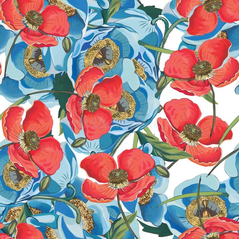 Elegantie Naadloze achtergrond met bloemnarcissen en papaver in vector De zomertuin van blauwe bloemen Geschikt voor royalty-vrije illustratie