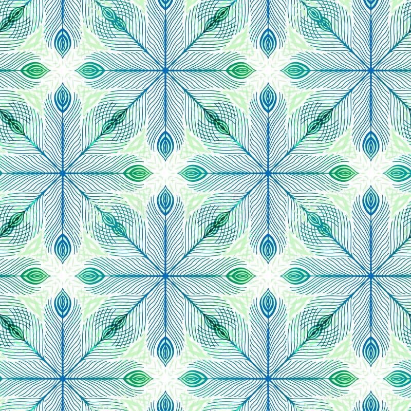 Elegantie naadloze achtergrond met verenornament Patroondruk voor textielontwerp Overladen naadloos patroon in groen en blauw stock illustratie