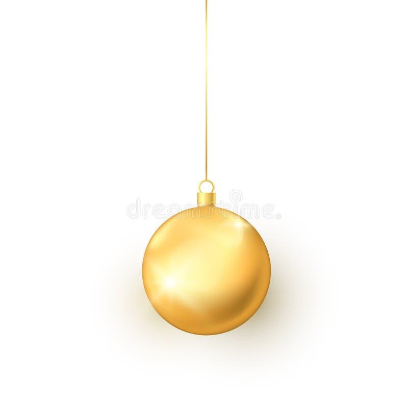 Elegantie om gouden Kerstmisstuk speelgoed Het kleurrijke element van de vakantiedecoratie Traditioneel symbool van Nieuwjaar en  royalty-vrije illustratie
