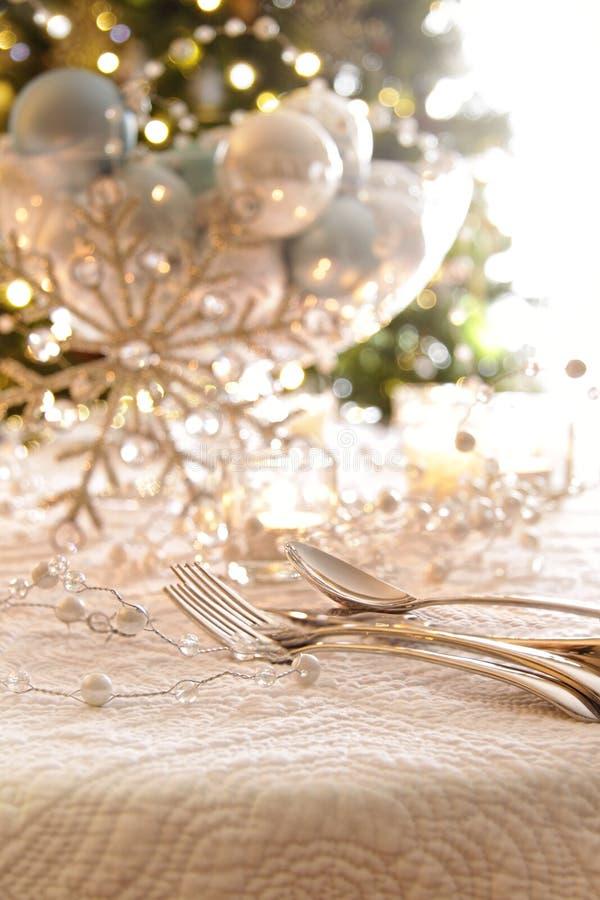 Elegantly Lit Holiday Table Stock Image