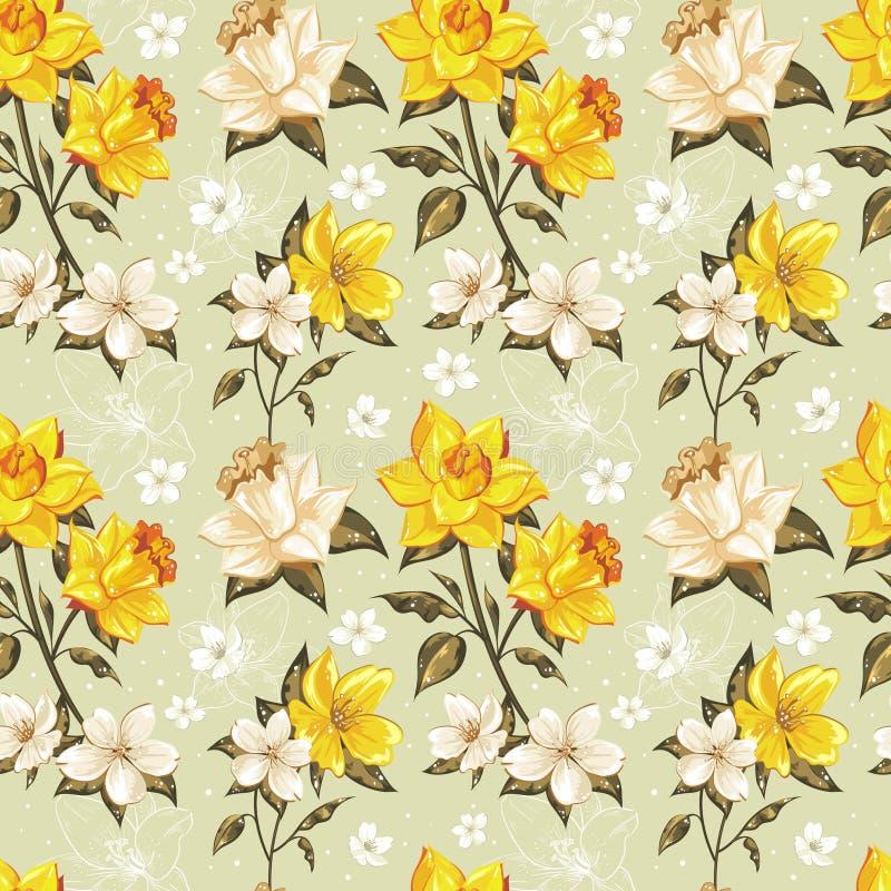 Elegantt fjädra blom- seamless mönstrar stock illustrationer