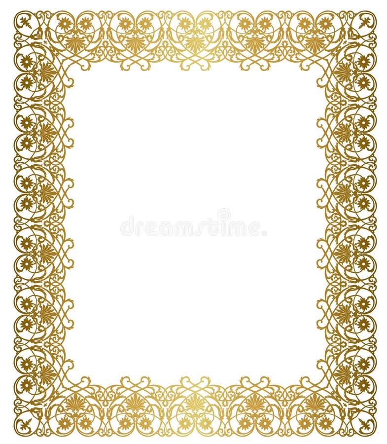 Elegantt guld- inramar royaltyfri illustrationer