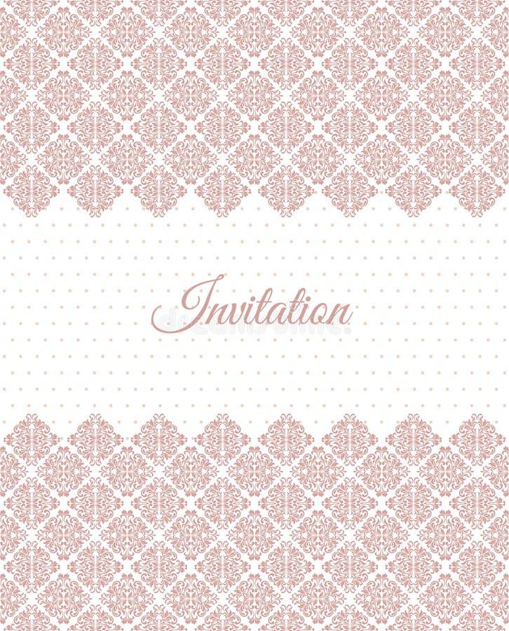 Elegantt inbjudankort orientering med den rosa tappningprydnaden royaltyfri illustrationer