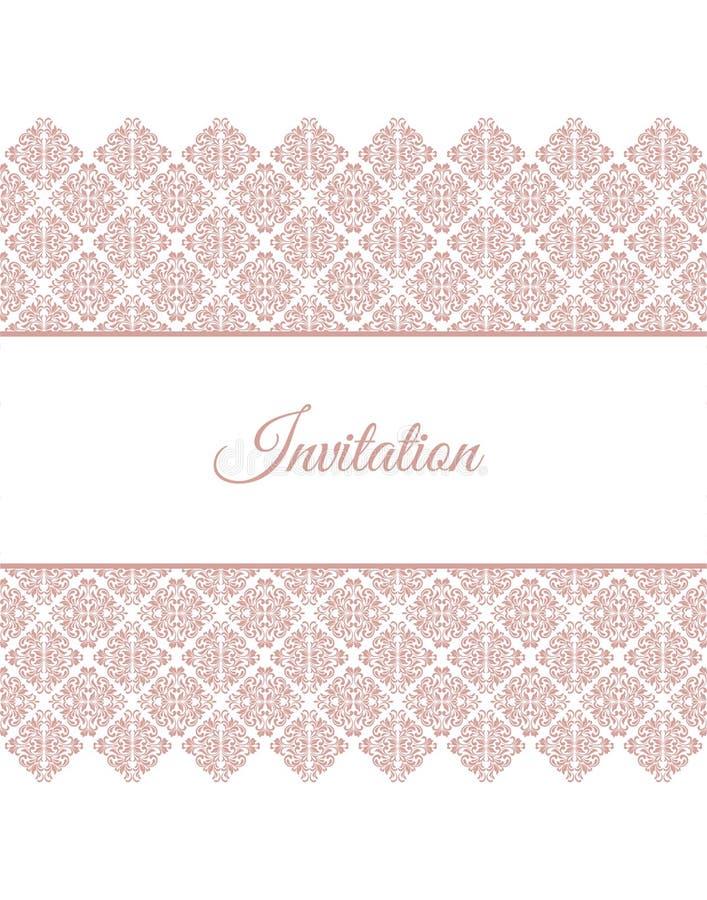 Elegantt inbjudankort orientering med den rosa tappningprydnaden vektor illustrationer