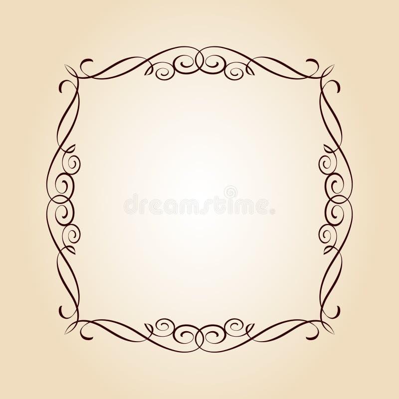 Elegantt inrama också vektor för coreldrawillustration tappning för stil för illustrationlilja röd Brun beiga vektor illustrationer