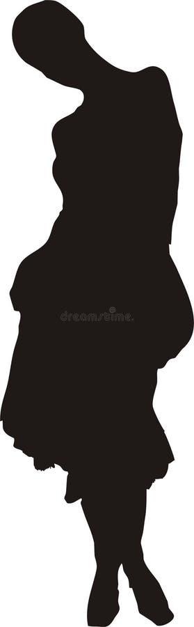 Download Elegantt Posera Den Sexiga Silhouettekvinnan Stock Illustrationer - Illustration av long, underkjol: 515850