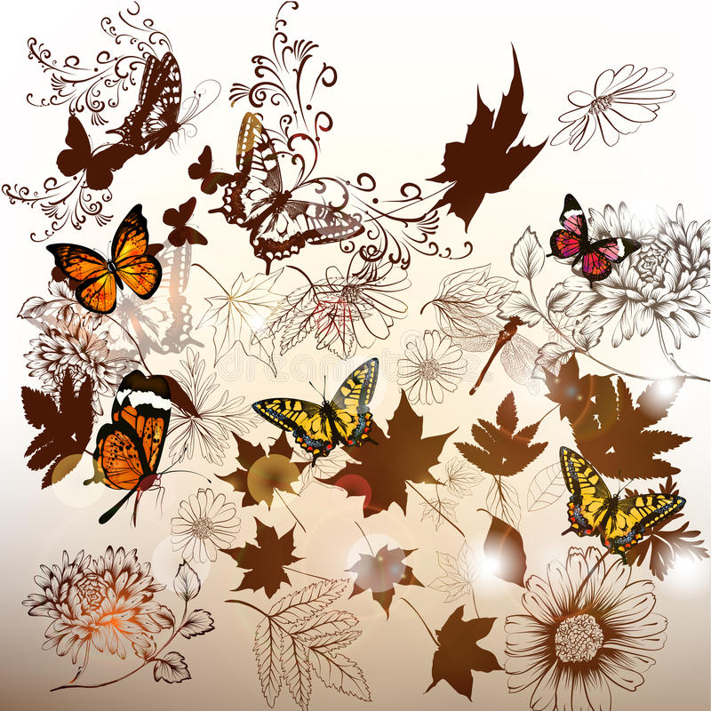 Elegant bakgrund med blommor och leafs för design stock illustrationer