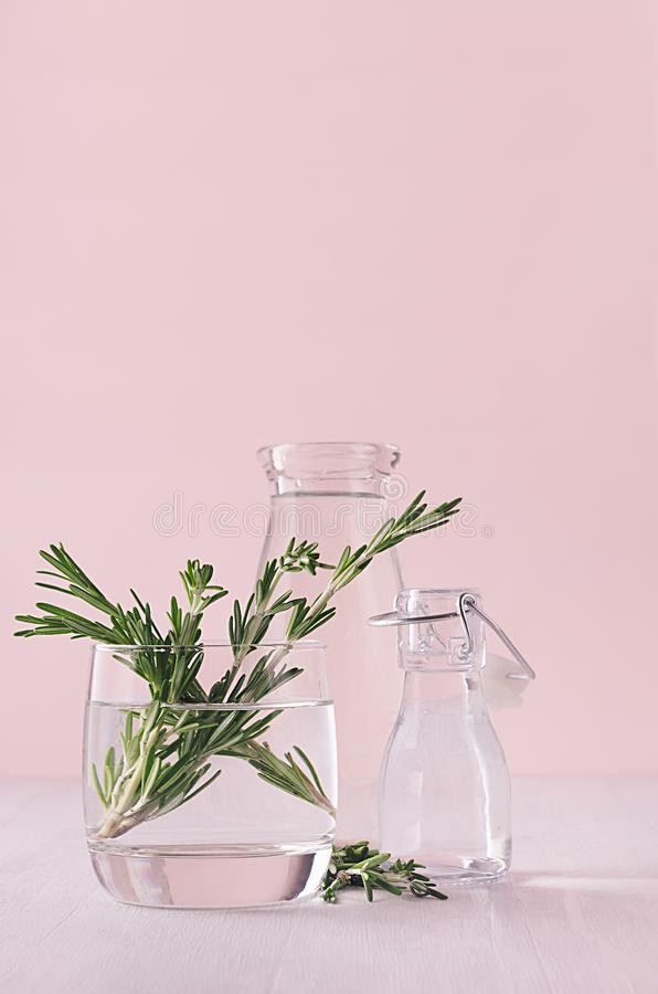 Eleganz Haupt-eco Dekor - aromatischer Blumenstrauß des frischen Rosmarins im Glasvase auf weißer Tabelle und rosa Hintergrund de stockfotografie