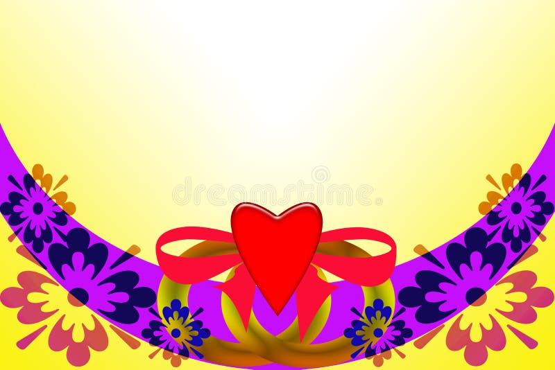 Eleganz romantisches Innersymbol auf einem warmen Hintergrund Abstraktes Bild mit mehrfarbigen Elementen lizenzfreie abbildung