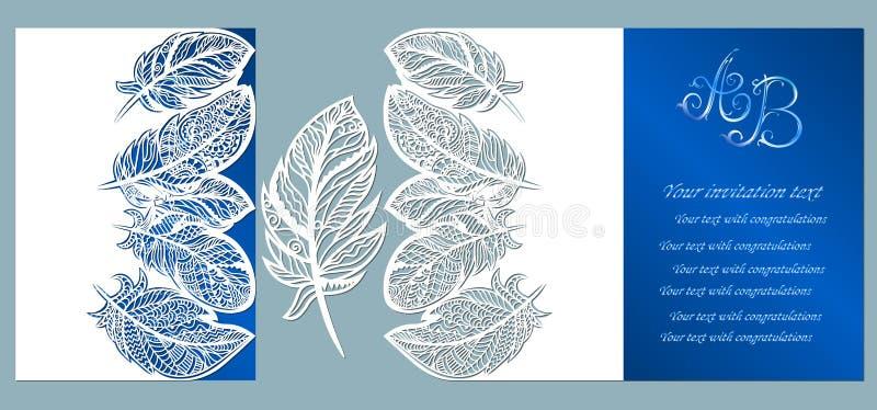 Eleganz romantisches Innersymbol auf einem warmen Hintergrund Grußkarte mit Federn Umschlagspott oben f?r Laser-Ausschnitt Schabl lizenzfreie abbildung