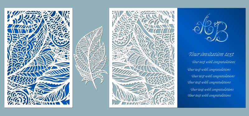 Eleganz romantisches Innersymbol auf einem warmen Hintergrund Grußkarte mit Federn Umschlagspott oben f?r Laser-Ausschnitt Schabl vektor abbildung