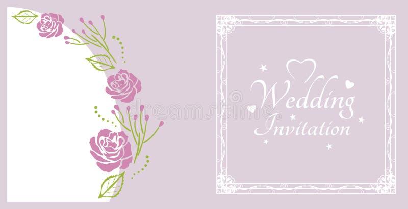 Eleganz romantisches Innersymbol auf einem warmen Hintergrund Probe für Postkarte mit purpurroten Rosen stock abbildung