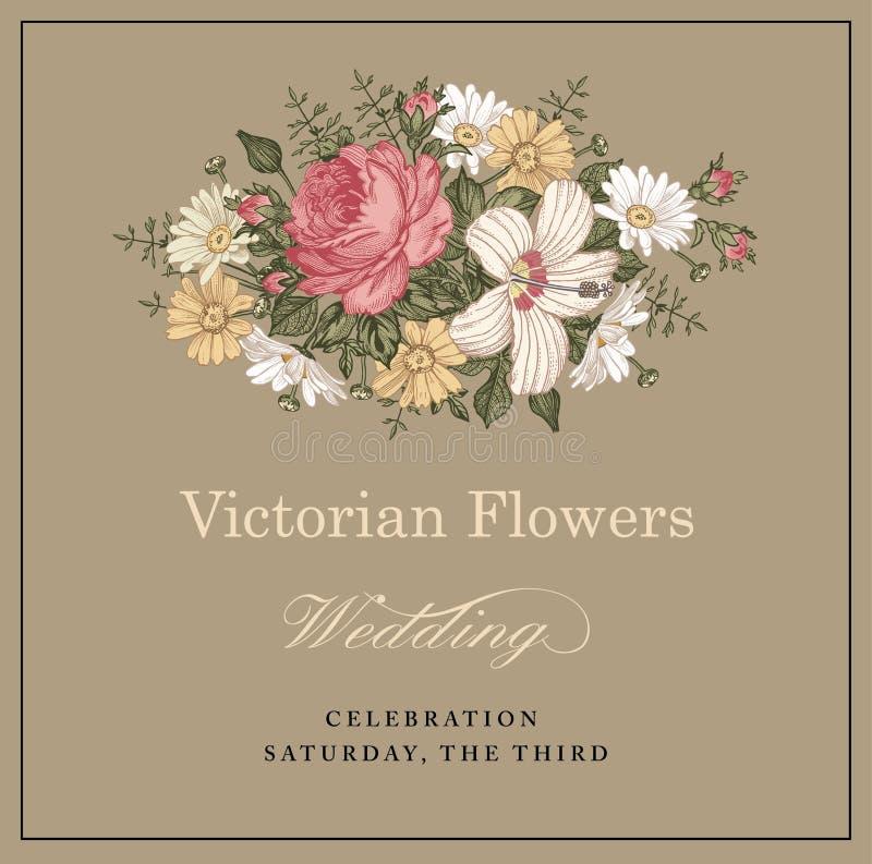 Eleganz romantisches Innersymbol auf einem warmen Hintergrund Schöne Blumen Kamillen-Rosen-Hibiscusmalve vektor abbildung
