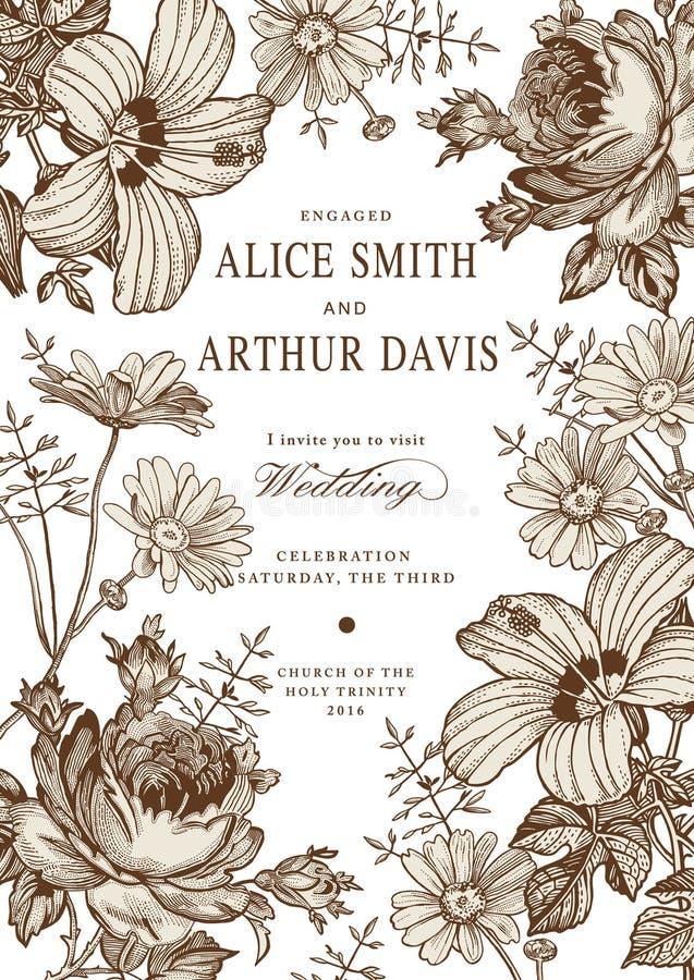 Eleganz romantisches Innersymbol auf einem warmen Hintergrund Schöne Blumen Kamillen-Rosen-Hibiscusmalve stock abbildung