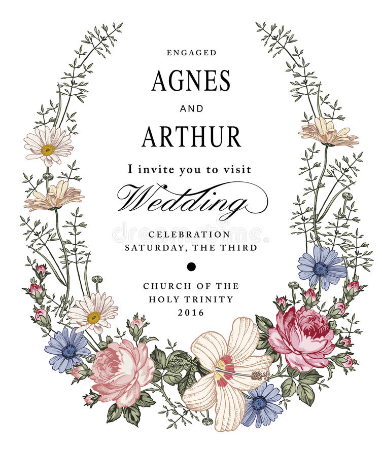 Eleganz romantisches Innersymbol auf einem warmen Hintergrund Schöne Blumen Kamillen-Rosen-Hibiscusmalve lizenzfreie abbildung
