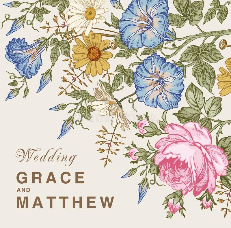 Eleganz romantisches Innersymbol auf einem warmen Hintergrund Schöne Blumen Petunien-Kamillen-Rosen-Karte Feld, Aufkleber Vektor  vektor abbildung