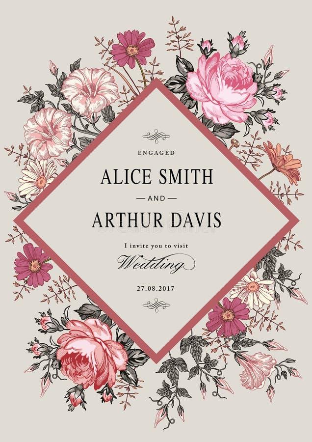 Eleganz romantisches Innersymbol auf einem warmen Hintergrund Schöne realistische Blumen Kamillen-Rosen-Karte Feld, Aufkleber Vek lizenzfreie abbildung