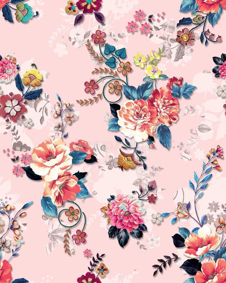 Eleganza astratta: modello perfetto con sfondo floreale su colore rosa Pronti per le stampe tessili illustrazione vettoriale