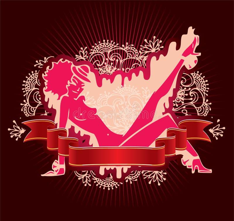Eleganzschönheits-Mädchenfahnen lizenzfreie abbildung