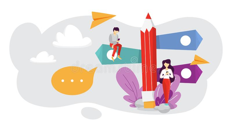 Elegir la dirección del negocio Idea de la estrategia y de las metas ilustración del vector