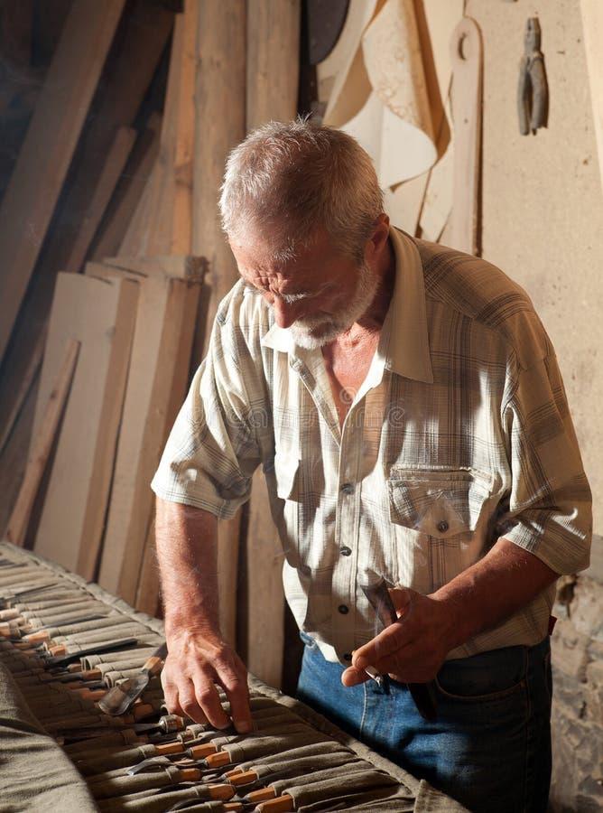 Elegir las herramientas de la carpintería foto de archivo