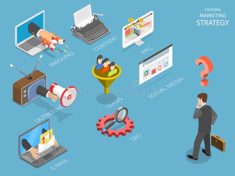 Elegir vector isométrico plano de la estrategia de la marca libre illustration