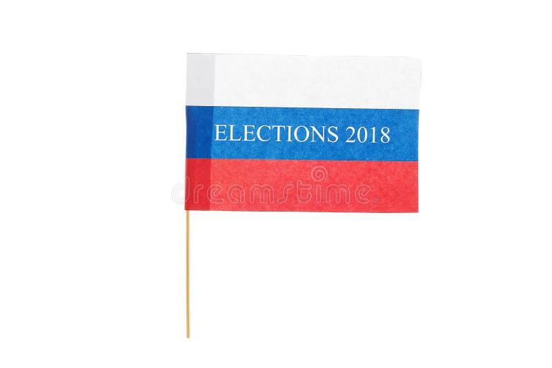 A eleição da palavra em uma bandeira de papel pequena de Rússia fotografia de stock royalty free