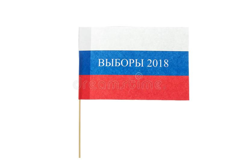 A eleição da palavra em uma bandeira de papel de Rússia imagens de stock royalty free