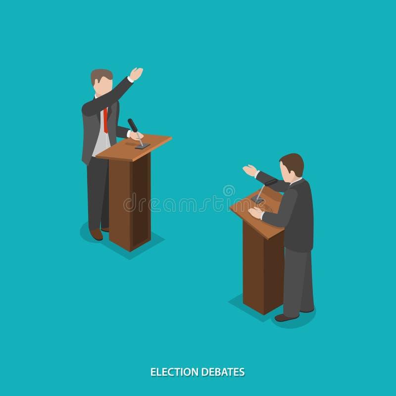 A eleição debate o vetor isométrico liso ilustração do vetor