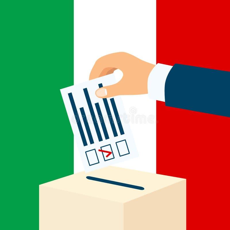 Eleição em Itália Mão masculina que põe o papel de votação em uma urna de voto com bandeira italiana sobre um fundo ilustração royalty free