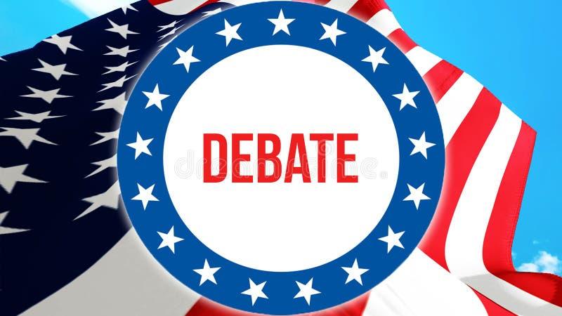 Eleição em um fundo dos EUA, do debate rendição 3D Bandeira de Estados Unidos da América que acena no vento Votando, democracia d ilustração do vetor