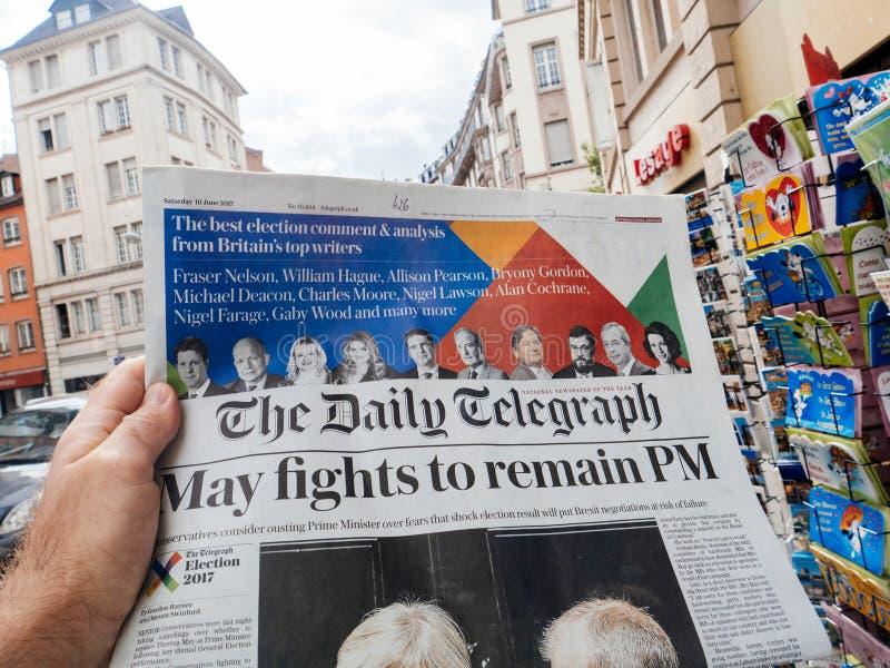 Eleição geral de Reino Unido de 2017 reações na imprensa imagens de stock royalty free