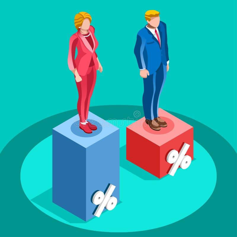 A eleição Infographic associa povos isométricos do vetor da política ilustração do vetor