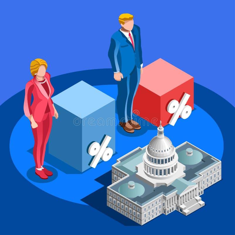 A eleição Infographic associa povos isométricos do vetor do candidato ilustração royalty free