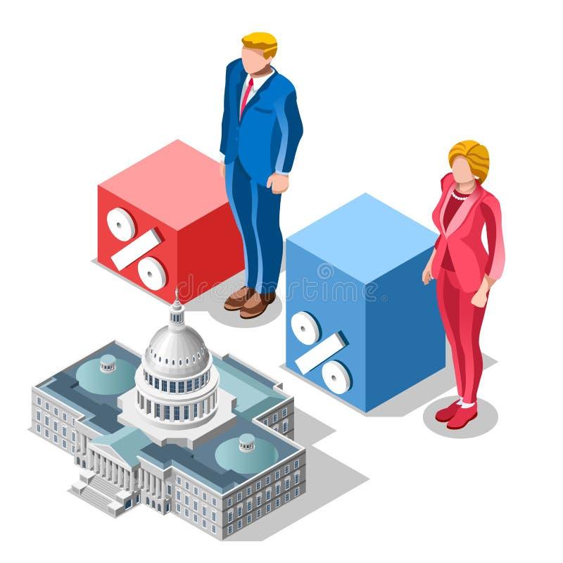 A eleição Infographic associa povos isométricos do vetor do congresso ilustração do vetor