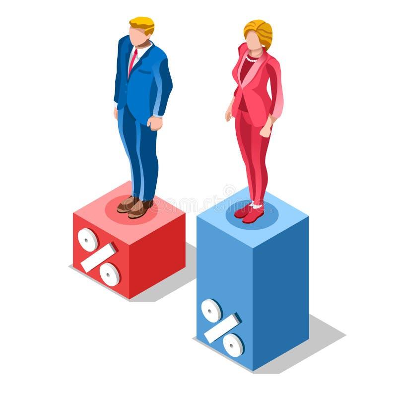 A eleição Infographic associa povos isométricos do vetor presidencial ilustração royalty free