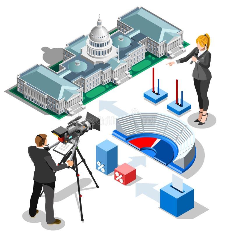 Eleição Infographic nós construção isométrica do vetor do Capitólio ilustração do vetor
