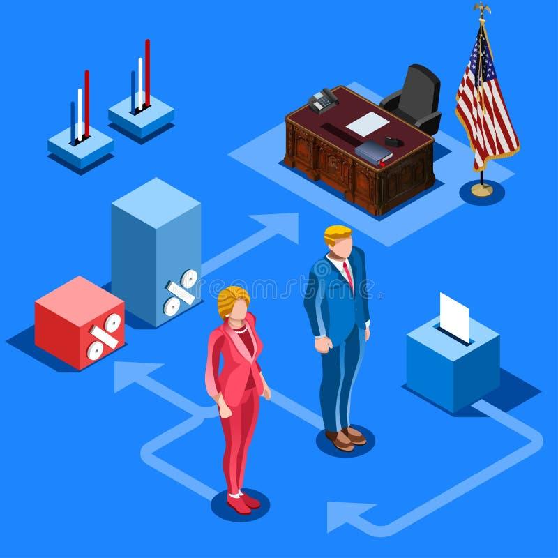 Eleição Infographic nós povos isométricos do vetor presidencial ilustração royalty free