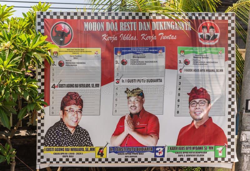 Eleição nacional 2019 do cartaz em Denpasar, Bali Indonésia foto de stock