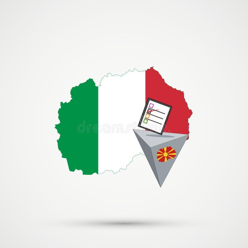 Eleição ou referendo em Macedônia Urna de voto e voto de carcaça no fundo branco Mapa de Macedônia em bandeiras de Itália no fund ilustração stock