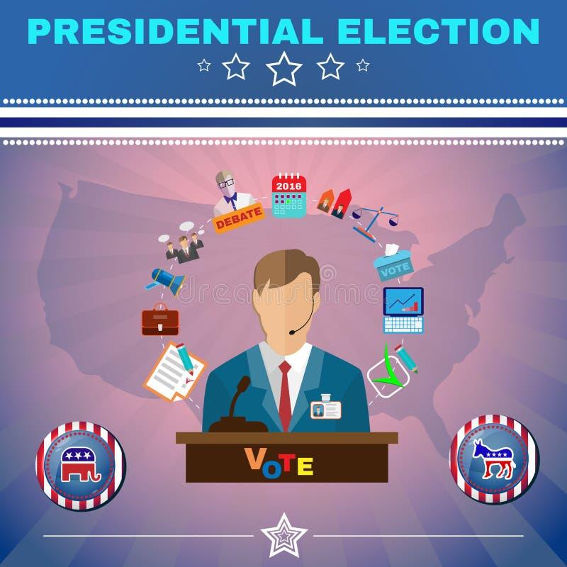 A eleição presidencial dos EUA debate a bandeira ilustração do vetor